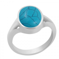 Ratti Genuine Turquoise (Firoza) Gemstone Silver Ring
